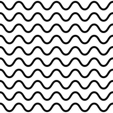 wavy lines: Vector seamless pattern, horizontal wavy lines, smooth bends. Simple monochrome black & white background, endless repeat texture. Design element for prints, decoration, textile, digital, web, identity