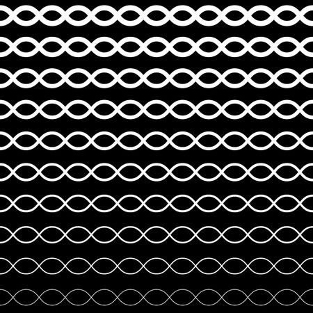 lineas onduladas: Vector seamless pattern, horizontal wavy lines. Simple illustration of DNA. Monochrome background with halftone transition effect. Black & white repeat texture. Design for prints, digital, decoration Vectores
