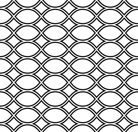 Vector seamless pattern, monochrome geometric texture. Simple black & white linear figures. Ornamental abstract background in oriental style. Repeat mosaic tiles. Design element for prints, decoration