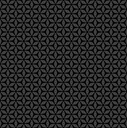 trendy tissue: Vector monochrome seamless pattern, subtle dark ornamental geometric background, black & white abstract texture with thin linear rhombuses. Design element for prints, decoration, digital, textile, web Illustration