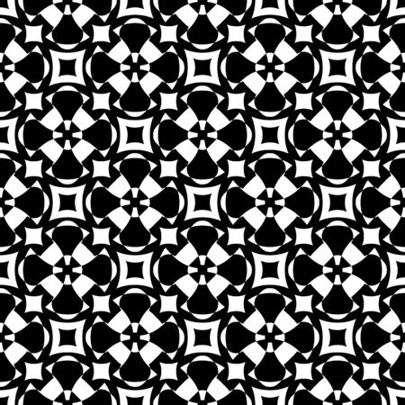 specular: Vector monochrome seamless pattern. Abstract ornamental texture, repeat geometric tiles. Black & white endless background, specular visual effect. Design element for prints, decor, textile, digital