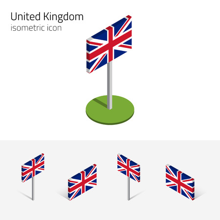 British flag (United Kingdom), Union Jack, vector set of isometric flat icons, 3D style, different views. Editable design elements for banner, website, presentation, infographic, poster, map. Eps 10