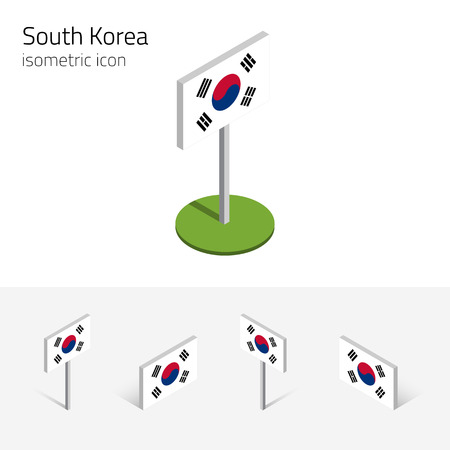 Flag of South Korea (Republic of Korea), vector set of isometric flat icons, 3D style, different views. Editable design elements for banner, website, presentation, infographic, poster, map. Eps 10