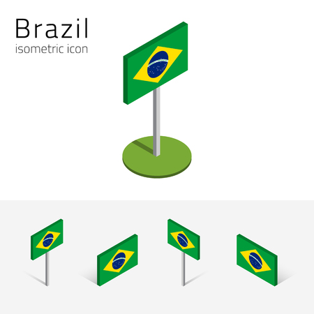 federative republic of brazil: Brazilian flag (Federative Republic of Brazil), vector set of isometric flat icons, 3D style, different views. Editable design elements for banner, website, presentation, infographic, map. Eps 10