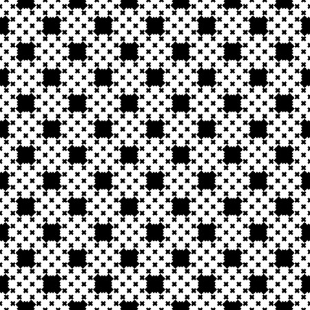stitching: Monochrome seamless pattern, endless texture with simple geometric figures. Illustration of cross stitching. Black & white repeat abstract background. Design element for prints, decor, digital Illustration