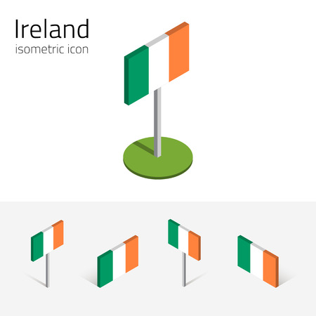 eire: Irish flag (Republic of Ireland), vector set of isometric flat icons, 3D style, different views. Editable design elements for banner, website, presentation, infographic, poster, card, collage. Eps 10