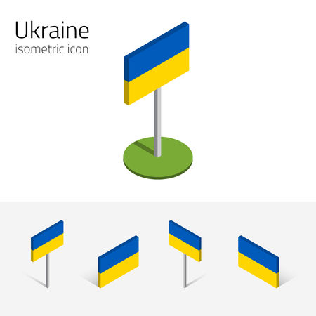 Ukraine flag, vector set of isometric flat icons, 3D style, different views. 100% editable design elements for banner, website, presentation, infographic, poster, card, collage. Eps 10