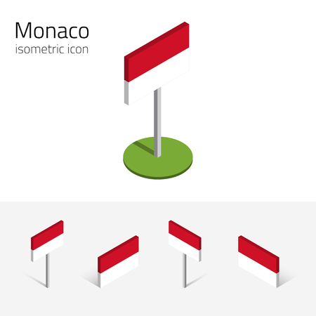 Principality of Monaco flag, vector set of isometric flat icons, 3D style, different views. Design elements for banner, website, presentation, infographic, poster, card, collage. Eps 10 Illustration