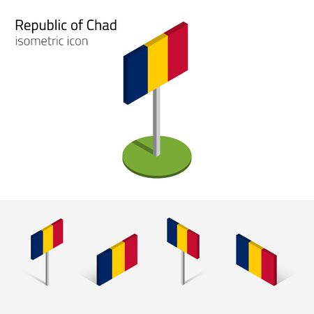 chadian: Chadian flag (Republic of Chad), vector set of isometric flat icons, 3D style. African country flags. Editable design elements for banner, website, presentation, infographic, poster, map. Eps 10