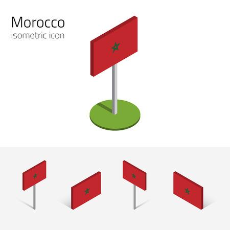 Marruecos bandera (Reino de Marruecos), vector conjunto de iconos planos isométricos, estilo 3D, diferentes vistas. Elementos de diseño editable para banner, sitio web, presentación, infográfico, cartel, mapa. Eps 10 Ilustración de vector
