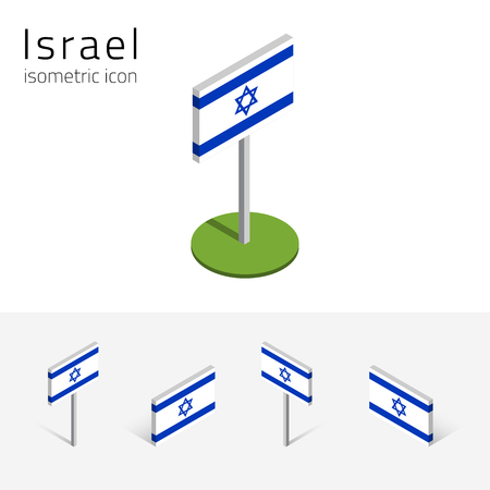 Israeli flag (State of Israel), vector set of isometric flat icons, 3D style, different views. 100% editable design elements for banner, website, presentation, infographic, poster, map. Eps 10 Illustration