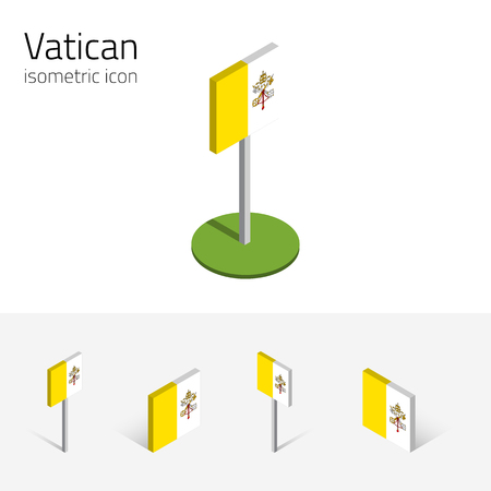 Vatican flag (Vatican City State), vector set of isometric flat icons, 3D style, different views. 100% editable design elements for banner, website, presentation, infographic, poster, map. Eps 10 Illustration