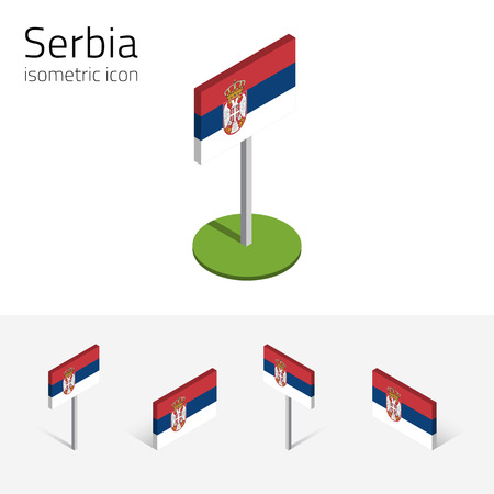 Serbian flag (Republic of Serbia), vector set of isometric flat icons, 3D style, different views. 100% editable design elements for banner, website, presentation, infographic, poster, map. Eps 10