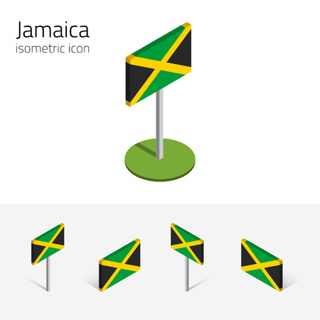 Jamaica flag, vector set of isometric flat icons, 3D style, different views. 100% editable design elements for banner, website, presentation, infographic, poster, map. Eps 10