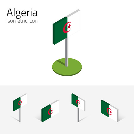 berber: Algerian flag (Peoples Democratic Republic of Algeria), vector set of isometric flat icons, 3D style. Editable design elements for banner, website, presentation, infographic, poster, map. Eps 10