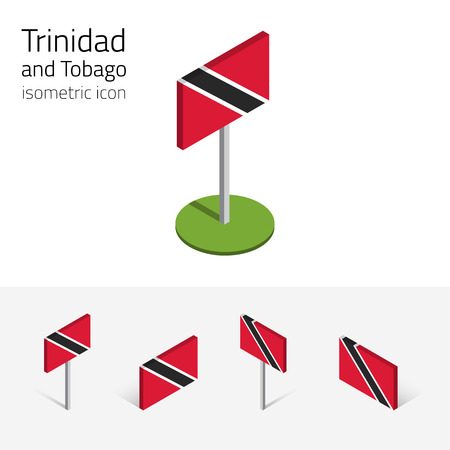 Trinidadian flag (Republic of Trinidad and Tobago), vector set of isometric flat icons, 3D style, different views. Editable design elements for banner, website, presentation, infographic, map. Eps 10 Illustration