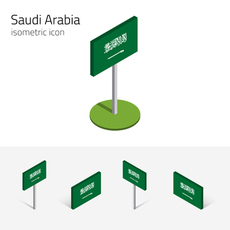 Kingdom of Saudi Arabia flag, vector set of isometric flat icons, 3D style, different views. 100% editable design elements for banner, website, presentation, infographic, poster, map. Eps 10