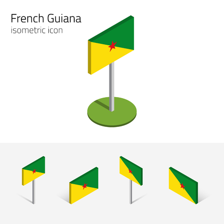 french culture: Flag of French Guiana (France), vector set of isometric flat icons, 3D style, different views. 100% editable design elements for banner, website, presentation, infographic, poster, map. Eps 10