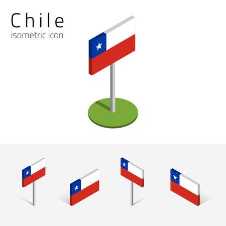 Chilean flag (Republic of Chile), vector set of isometric flat icons, 3D style, different views. 100% editable design elements for banner, website, presentation, infographic, poster, map. Eps 10