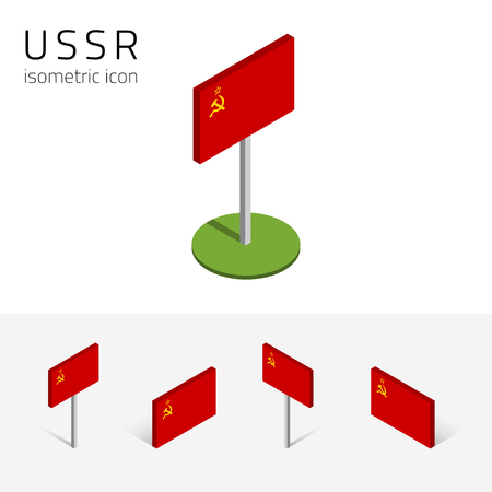 soviet flag: USSR flag (Union of Soviet Socialist Republics), vector set of isometric flat icons, 3D style, different views. Editable design elements for banner, presentation, infographic, poster, map. Eps 10 Illustration