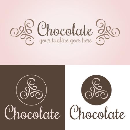Chocolade logo sjabloon. Roze, beige en bruine kleuren. Bewerkbare ontwerpelementen met abstracte curven. Nuttig voor logotype, identiteit, afdrukken, gevels, vensteraanduiding, productpakketontwerp