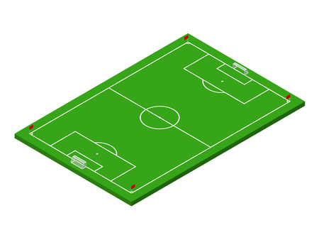 3D isometric green football field with official correct proportions. Sport theme vector illustration, soccer sports field, stadium. Isolated editable design element for infographics, banner, collage