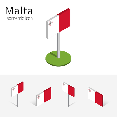 Maltese flag (Republic of Malta), vector set of isometric flat icons, 3D style, different views. 100% editable design elements for banner, website, presentation, infographic, poster, map. Eps 10