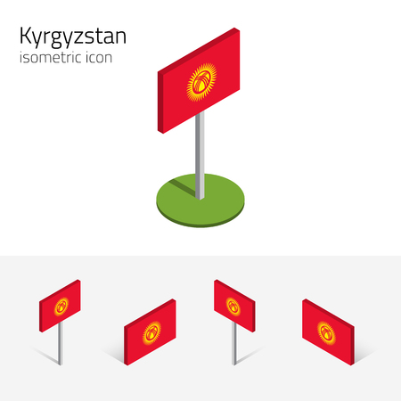 kyrgyz republic: Kyrgyz flag (Kyrgyz Republic, Kyrgyzstan), vector set of isometric flat icons, 3D style. Illustration