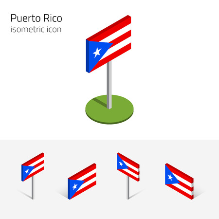 english culture: Puerto Rican flag (Commonwealth of Puerto Rico), vector set of isometric flat icons, 3D style. Illustration