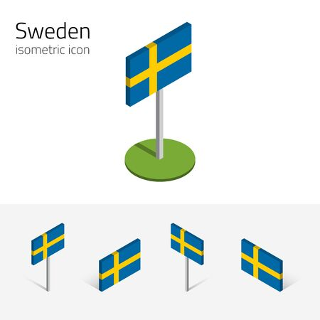 Swedish flag (Kingdom of Sweden), vector set of isometric flat icons, 3D style, different views. Editable design elements for banner, website, presentation, infographic, poster, map. Eps 10