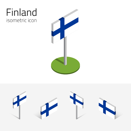 Finnish flag (Republic of Finland), vector set of isometric flat icons, 3D style, different views. Editable design elements for banner, website, presentation, infographic, poster, map. Eps 10 Ilustração
