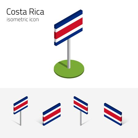 Costa Rican flag (Republic of Costa Rica), vector set of isometric flat icons, 3D style, different views. Editable design elements for banner, website, presentation, infographic, poster, map. Eps 10 Ilustração