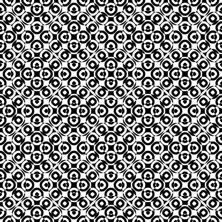 specular: Vector monochrome seamless texture, specular geometric pattern, repeat tiles. Black & white overlay circles. Illusive optical effect. Design element for tileable print, decoration, textile, digital