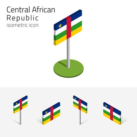 continente africano: Central African Republic flag (CAR), vector set of isometric flat icons, 3D style. African country flags. Editable design elements for banner, website, presentation, infographic, poster, map. Eps 10 Vectores