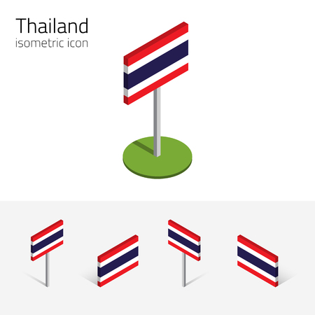 siamese: Thai flag (Kingdom of Thailand), vector set of isometric flat icons, 3D style, different views. 100% editable design elements for banner, website, presentation, infographic, poster, map. Eps 10