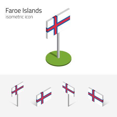 danish flag: Faroe Islands flag (Kingdom of Denmark), vector set of isometric flat icons, 3D style, different views. Editable design elements for banner, website, presentation, infographic, poster, map. Eps 10 Illustration