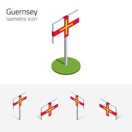 bailiwick: Flag of Guernsey (United Kingdom), vector set of isometric flat icons, 3D style, different views. Editable design elements for banner, website, presentation, infographic, poster, map, collage. Eps 10