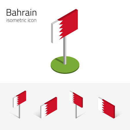 Bahraini flag (Kingdom of Bahrain), vector set of isometric flat icons, 3D style, different views. 100% editable design elements for banner, website, presentation, infographic, poster, map. Eps 10 Illustration