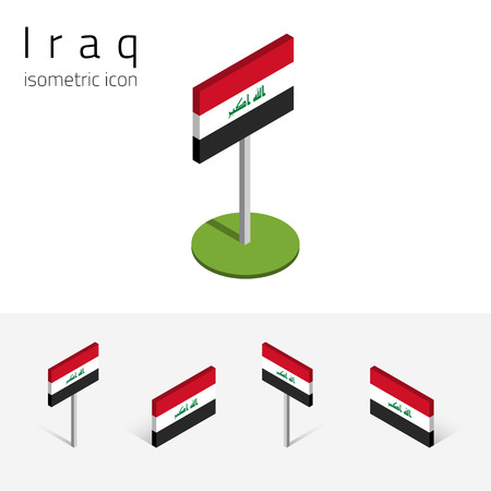 Iraqi flag (Republic of Iraq), vector set of isometric flat icons, 3D style, different views. 100% editable design elements for banner, website, presentation, infographic, poster, map. Eps 10