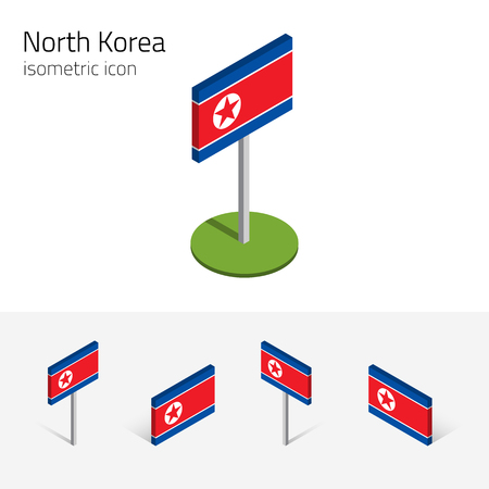 totalitarian: North Korea flag (Democratic Peoples Republic of Korea, DPRK), vector set of isometric flat icons, 3D style. Editable design elements for banner, website, presentation, infographic, map. Eps 10 Illustration