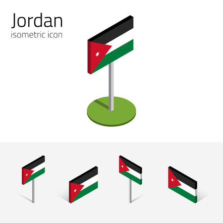 the hashemite kingdom of jordan: Jordanian flag (Hashemite Kingdom of Jordan), vector set of isometric flat icons, 3D style, different views. Editable design elements for banner, website, presentation, infographic, map. Eps 10