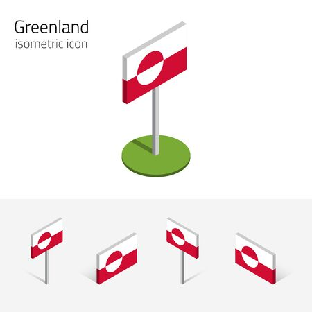 nuuk: Greenland flag (Kingdom of Denmark), vector set of isometric flat icons, 3D style, different views. 100% editable design elements for banner, website, presentation, infographic, poster, map. Eps 10