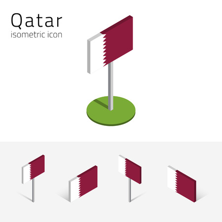 Qatari flag (State of Qatar), vector set of isometric flat icons, 3D style, different views. 100% editable design elements for banner, website, presentation, infographic, poster, map. Eps 10