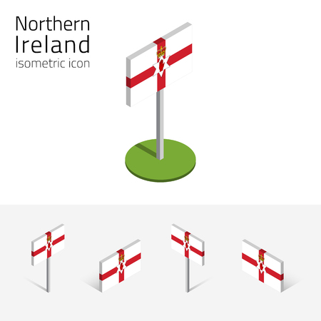 national identity: Flag of Northern Ireland (United Kingdom), vector set of isometric flat icons, 3D style, different views. Editable design elements for banner, website, presentation, infographic, poster, map.