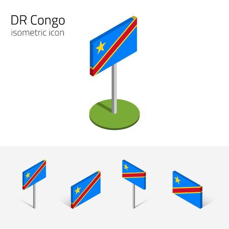 dr: Democratic Republic of the Congo flag, vector set of isometric flat icons, 3D style. African country flags. Editable design elements for banner, website, presentation, infographic, poster, map. Eps 10 Illustration
