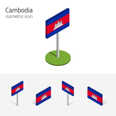 indochina peninsula: Cambodian flag (Kingdom of Cambodia), vector set of isometric flat icons, 3D style, different views. Editable design elements for banner, website, presentation, infographic, poster, map.