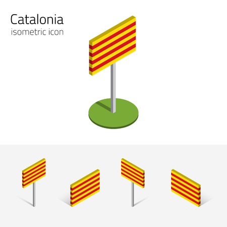 Catalan flag (Catalonia, Spain), vector set of isometric flat icons, 3D style, different views. 100% editable design elements for banner, website, presentation, infographic, poster, map, card. Eps 10