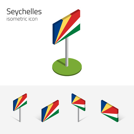 Seychelles flag (Republic of Seychelles), vector set of isometric flat icons, 3D style. African country flags. Editable design elements for banner, website, presentation, infographic, map. Illustration