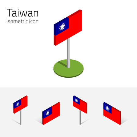 Taiwan flag (Republic of China), vector set of isometric flat icons, 3D style, different views. 100% editable design elements for banner, website, presentation, infographic, poster, map. Eps 10