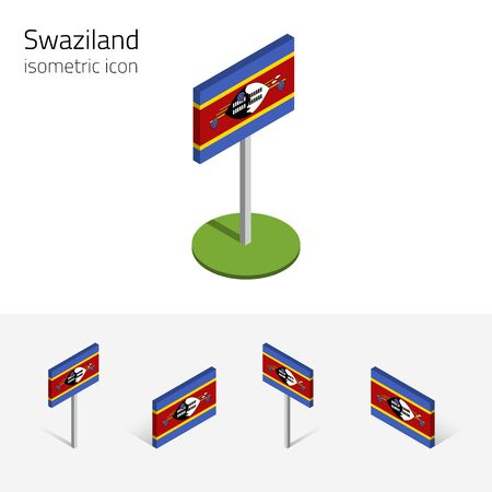 Swaziland flag (Kingdom of Swaziland), vector set of isometric flat icons, 3D style. African country flags. Editable design elements for banner, website, presentation, infographic, card, map.